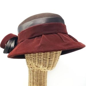Vintage Lord & Taylor Wool Cloche Bow Hat